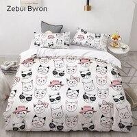 3D Cartoon Kids Bedding Set For children/babyCustom/King/Europe/USA Duvet Cover SetQuilt/Blanket Cover SetCat Bedclothes