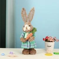 Decoration de paques pour la maison  Simulation de lapin  decoration creative en paille  decoration de jardin