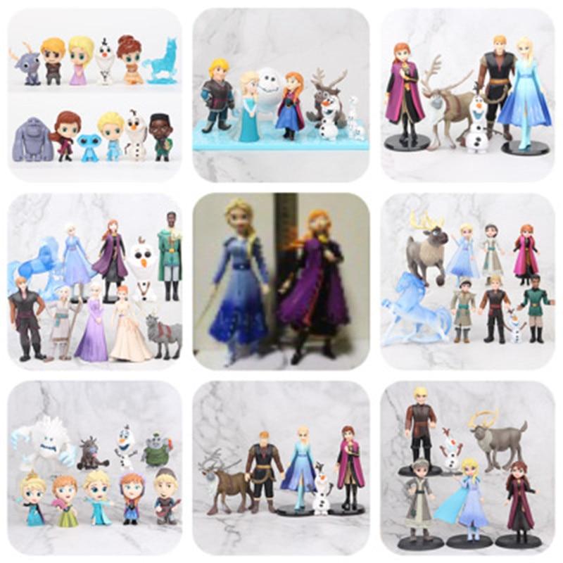 Disney Frozen 2 Snow Queen Elsa Anna PVC Action Figure Olaf Kristoff Sven Anime Dolls Figurines Kids Toy Children Gift Model недорого