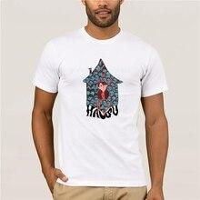Moda t camisa 100% algodão casa hausu marca casual em torno do pescoço legal camiseta do homem