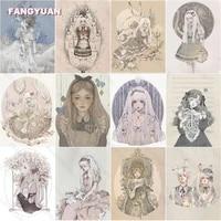 diamond painting kit illustration art beautiful anime girls full square drill diamond embroidery cross stitch kits home decor
