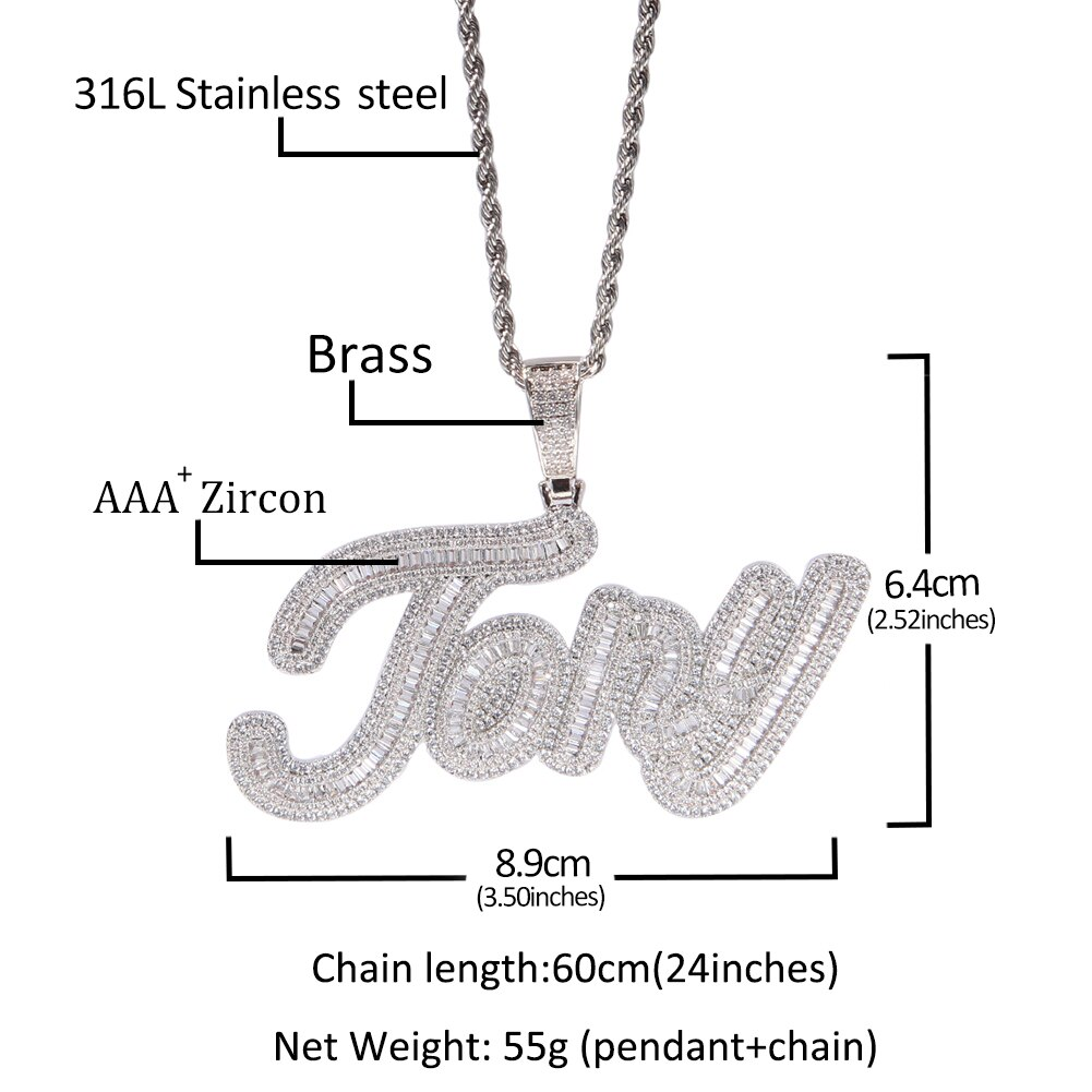 Uwin Custom Name Necklace Baguette Letter Pendant Iced Out Cubic Zirconia Characters Fashion Hip Hop Jewelry