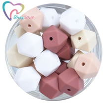 20 PCS Silicone Geomtric Baby Beads Teething Hexagon 14 MM Baby Chews Beads Teether For Pacifier Hol