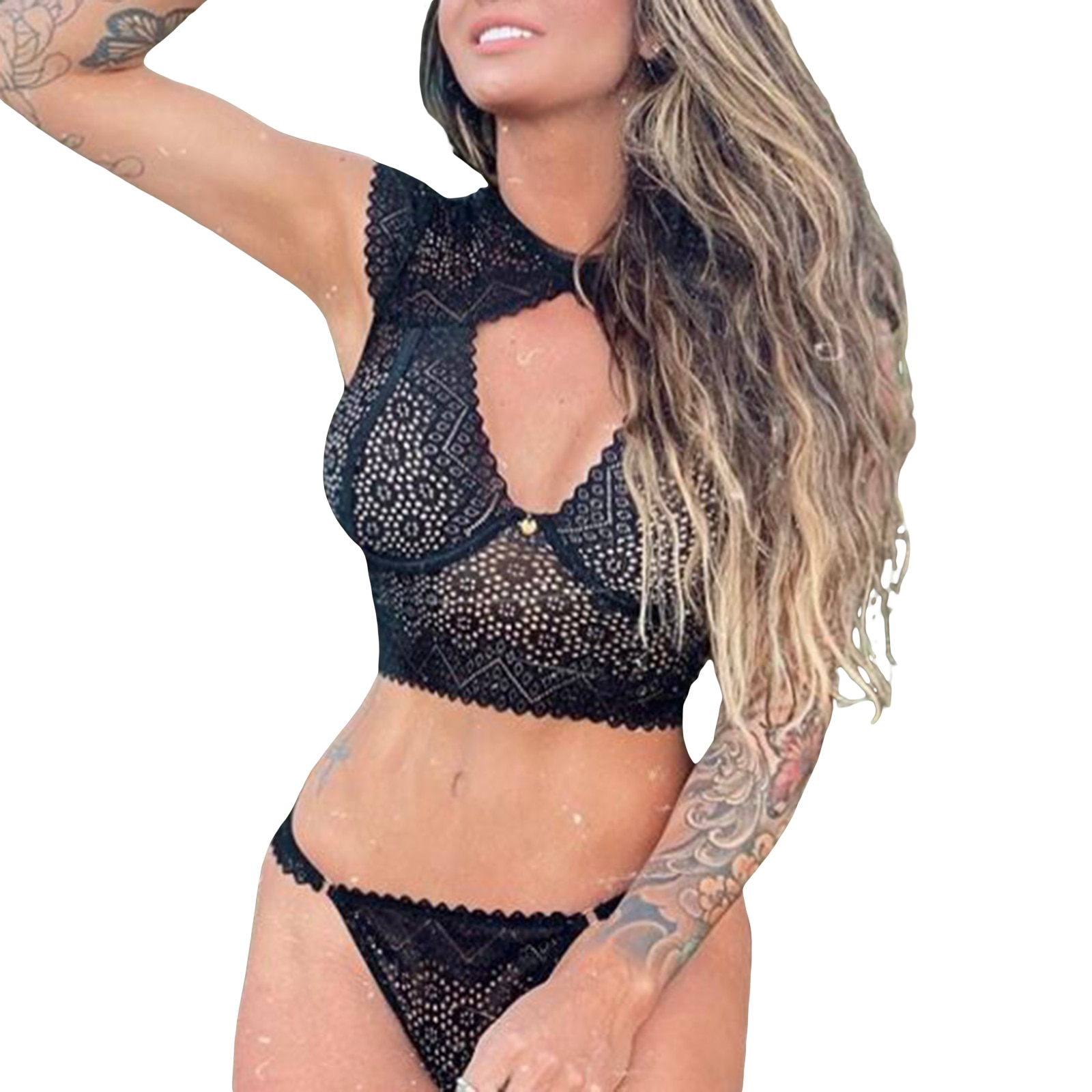 Women Hollow Out Lace Lingerie Sets, Cut Out Crew Neck Crop Bustier Crop Tops and Panty Thong 2 Pieces Babydoll Costume