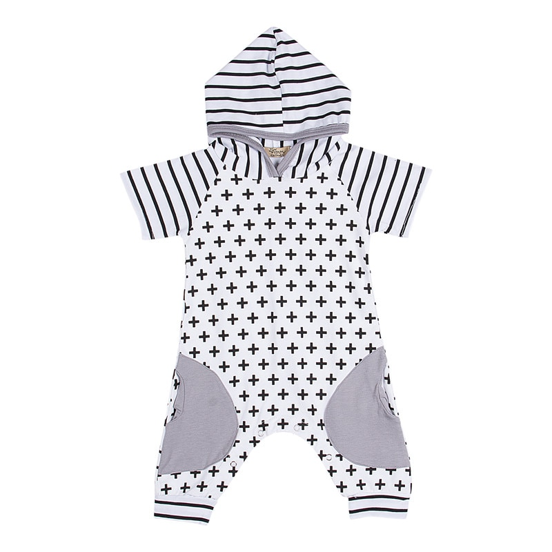Newborn Baby Girls Boy Clothing Hooded Romper Short Sleeve Jumpsuit Cute Outfits Baby Boys Girls Clothes