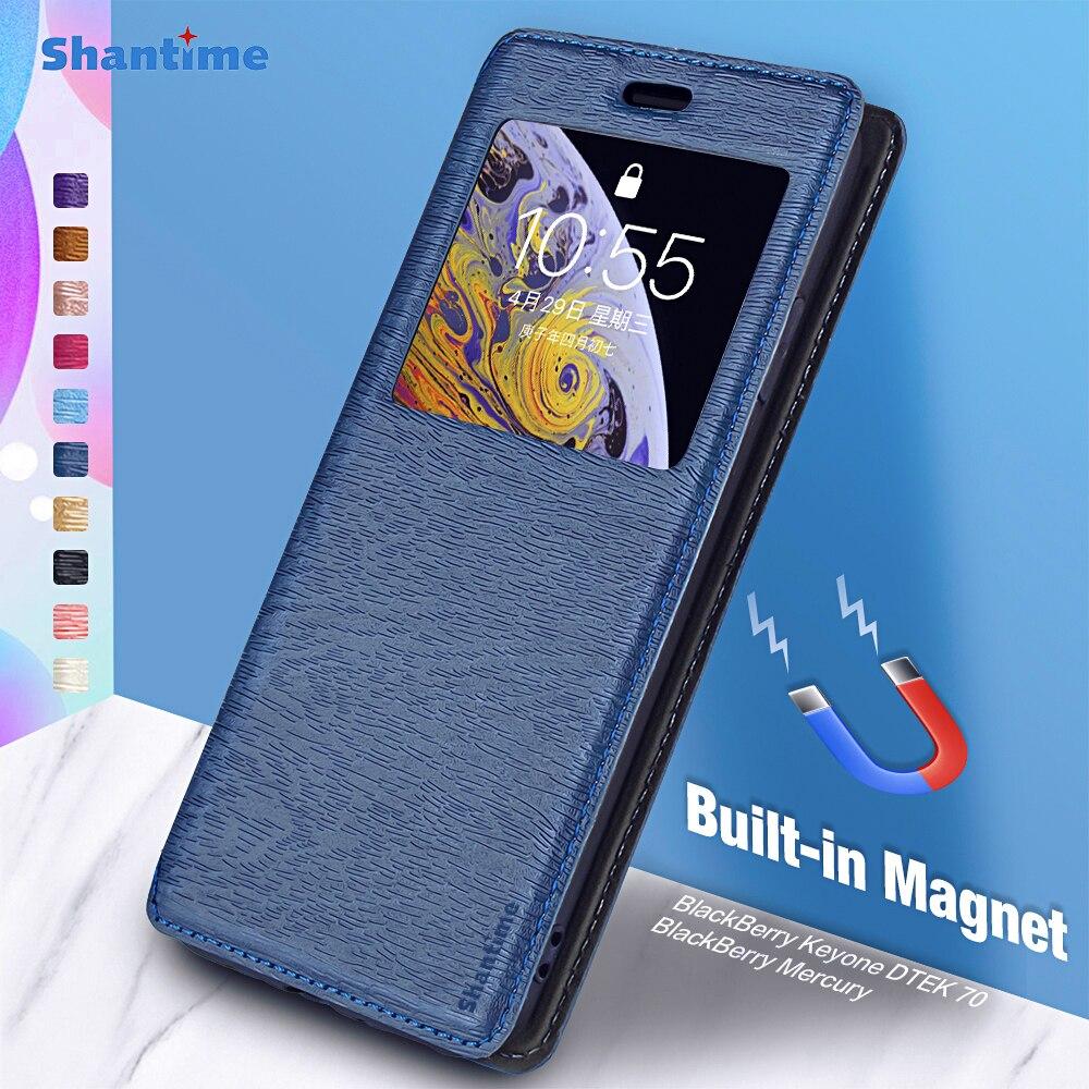 Para blackberry keyone dtek 70 caso para blackberry mercúrio vista janela capa ímã invisível e slot para cartão e suporte