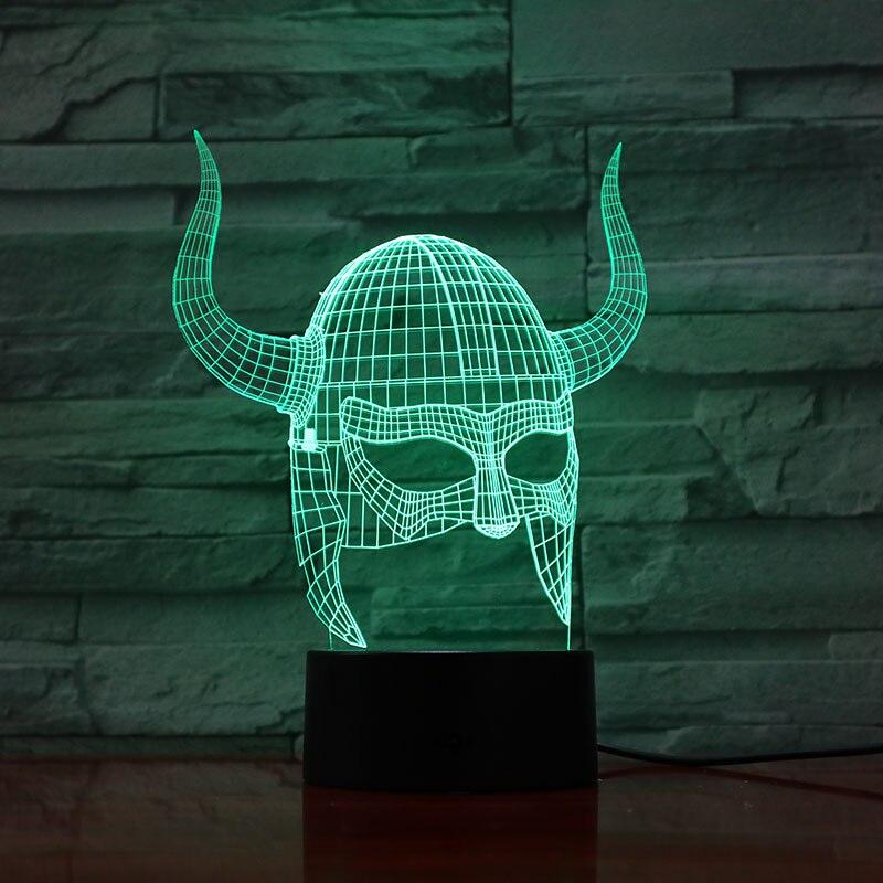 Arte decoración 3D lámpara los cascos vikingos luz efecto de cambio de Color con control remoto la mejor Decoración Led lámpara de luz nocturna