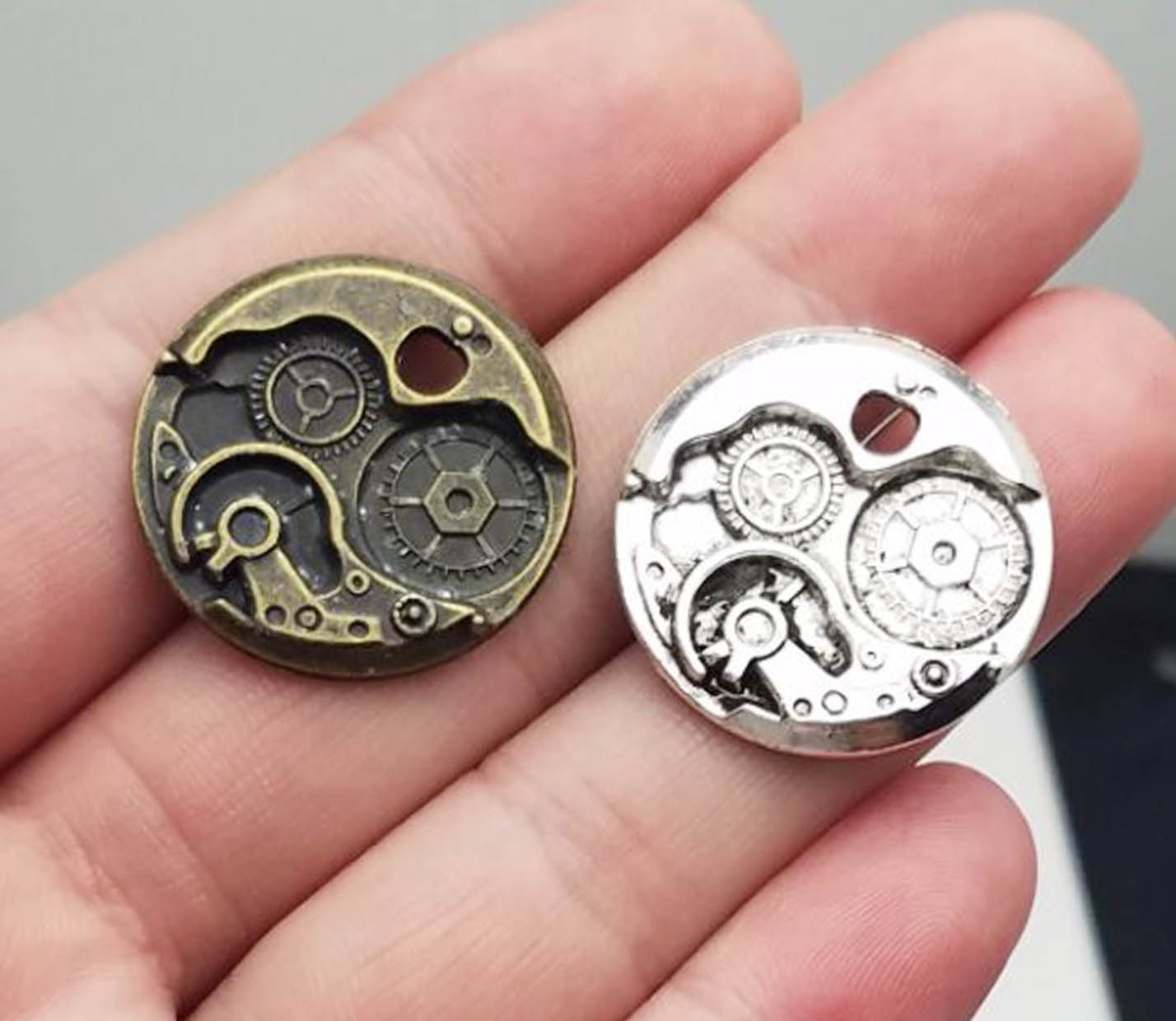 10pcs/lot--25mm, Antique silver plated/bronze plated Steampunk Watches Clock Gears Charms,DIY suppli