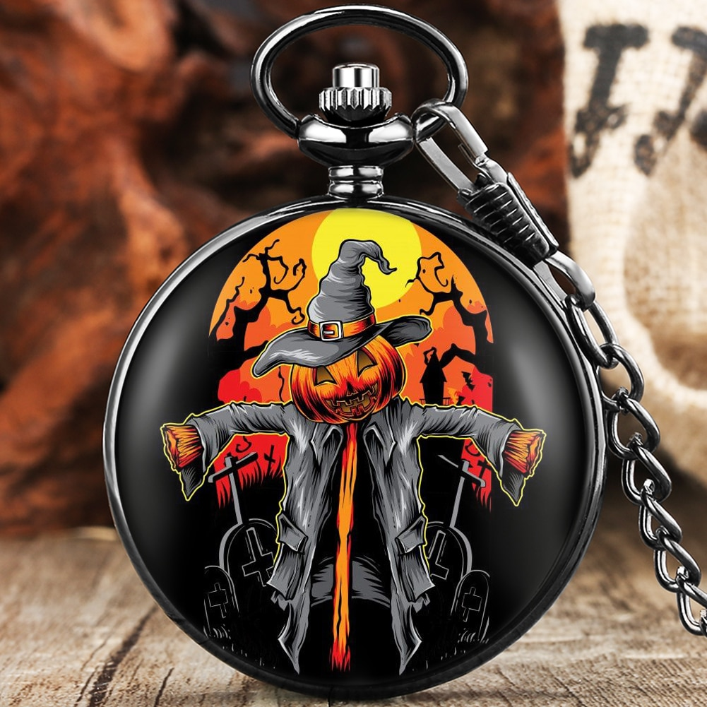 2021 Halloween Series Gifts Unisex Fashion Quartz Pocket Watch Black Clock Fob Chain Number Dial Smooth Pendant Watches Cosplay new fashion silver quartz men pocket watch man arabic roman number fob watches smooth surface hour gift short chain dual display