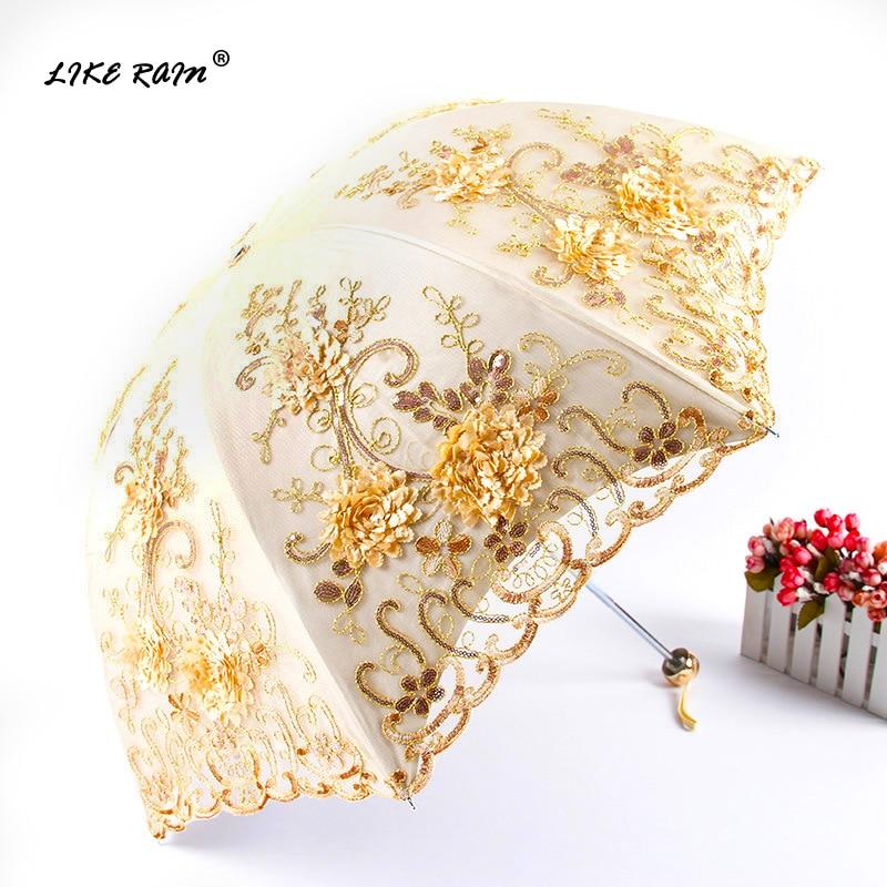 Como la decoración de la lluvia de encaje flor paraguas lluvia mujeres Parasol Anti UV sol paraguas plegable doble capa bordado paraguas UBY85