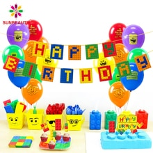 Building Brick Theme Birthday Banner Bunting Garland Building Blocks Party Decorations Baby Boy Kids