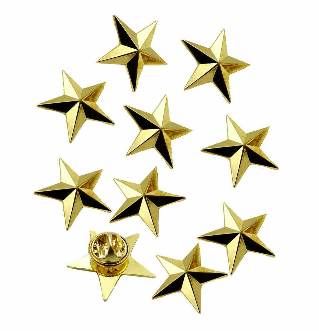 10PCS UNS ARMEE EIN STERN BRIGADIER ALLGEMEINE RANK GOLDENE ABZEICHEN PIN VETERAN GESCHENK military Shop