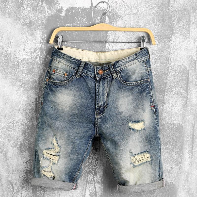 summer denim shorts male jeans men jean shorts bermuda skate board harem mens jogger ankle ripped wave 38 40,