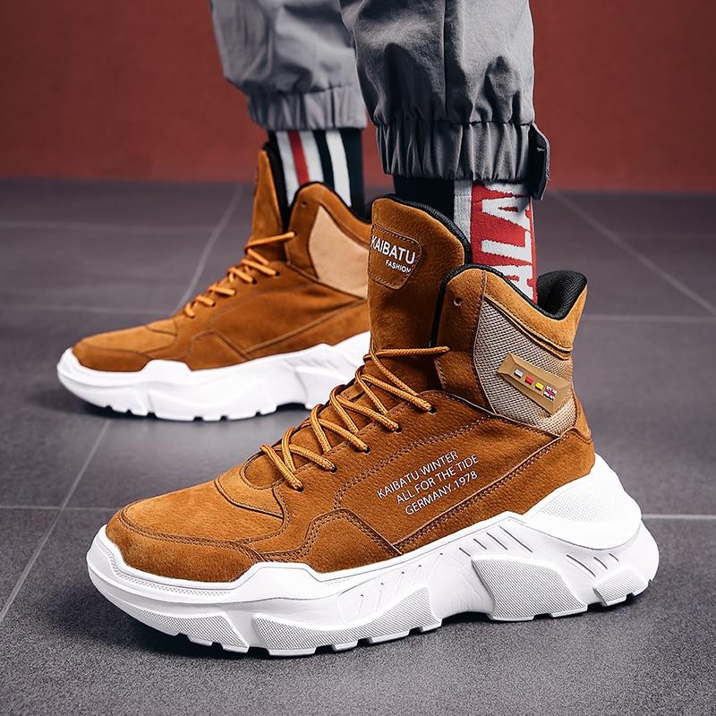 Hot البيع الخريف الشتاء موضة أحذية رجالية عادية الجلد المدبوغ منصة الرجال حذاء كاجوال براون خفيفة الوزن عالية أعلى أحذية الرجال المدربين