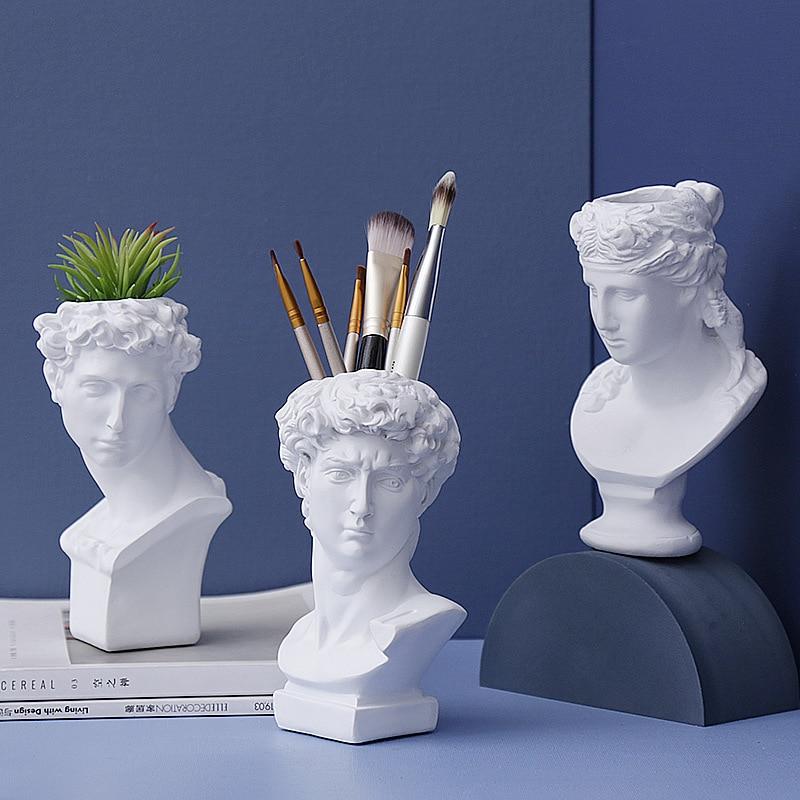 Creative Resin Imitation Plaster Vase David Sculpture Head Flower arrangement  Makeup Brush Storage Box Pen Holder Home Decorate