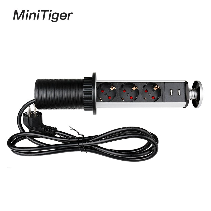 Minitiger 16A سحب المنبثقة 3 مقبس الطاقة 2 USB ميناء الشحن المطبخ الجدول سطح المكتب مآخذ قابل للسحب كونترتوب الاتحاد الأوروبي التوصيل