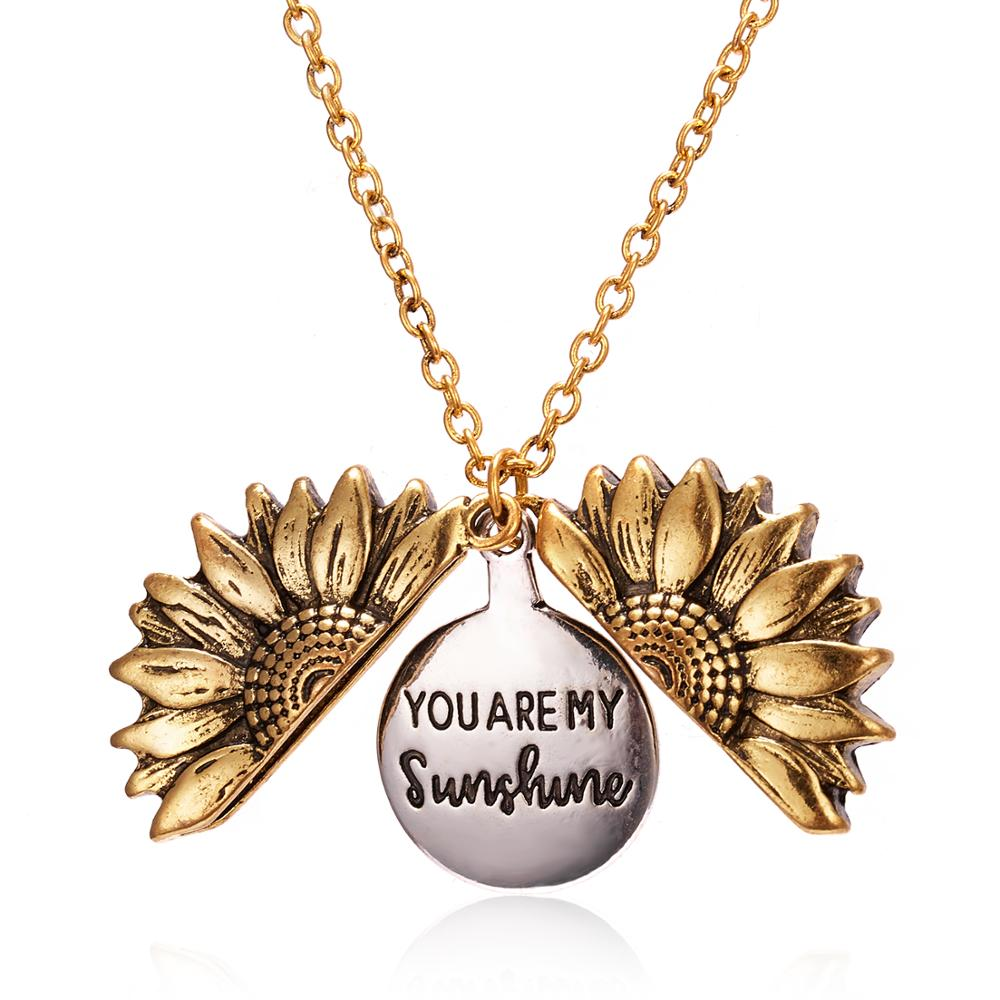 ailodo fashion cactus pendant wish card necklace gold silver color make a wish necklace party banquet jewelry girls gift 20feb20 2021 Gold Silver Color Open Locket Necklace Engraved You Are My Sunshine Sunflower Pendant Necklace Unique Party Jewelry Gift