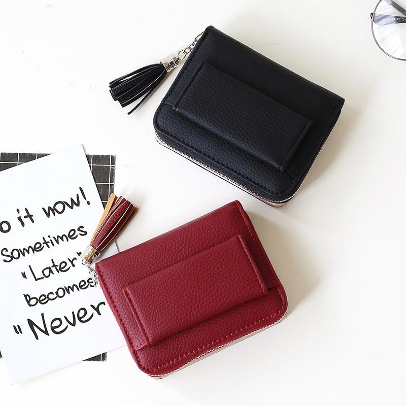 Tassel Women Wallet Small Cute Wallet Women Short Leather Women Wallets Zipper Purses Portefeuille F