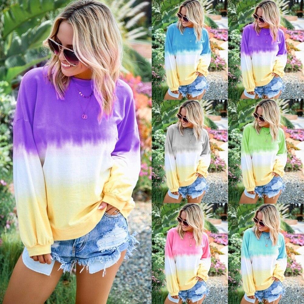 צבע עניבת חולצות נים נשים קשת סווטשירט מקרית Loose חולצות שיפוע צבע סוודר סתיו ארוך שרוול נשי 5XL