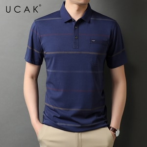UCAK Brand Classic Turn-down Collar Cotton T Shirt Men Clothes Summer New Fashion Tops Streetwear Casual Soft Tshirt Homme U5474