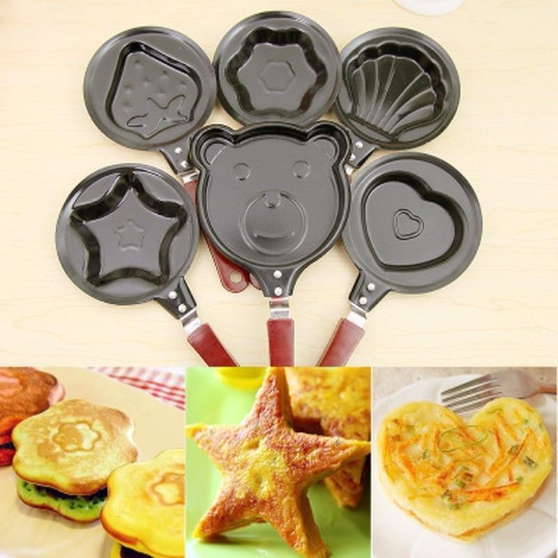 Мини-Яичница кухонные принадлежности для завтрака любовь Сковорода для блинов сердце сковородка для омлета жарголова без крышки кастрюли чугунная черная