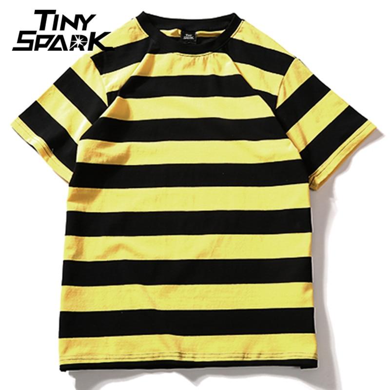 Amarelo preto vermelho branco listrado camiseta de algodão do vintage hip hop harajuku topos t das mulheres dos homens listrado tshirt streetwear manga curta