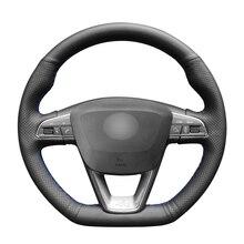 Housse de volant de voiture en cuir artificiel noir cousu main pour Seat Leon Cupra Leon ST Cupra 2013-2019 Ateca Cupra 2016