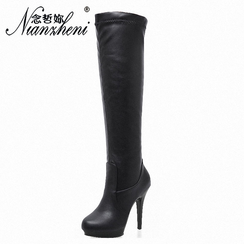 17cm Thigh-High Boots 8 Inch High Heels Knee Boots Leather Round Heels Lady Shoes Round Heels Platform Fashion Stage Party Shoes  - buy with discount