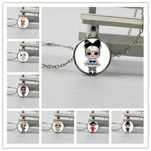 Cartoon haha doll necklace cute baby flash princess dress doll glass necklace anime birthday gift je