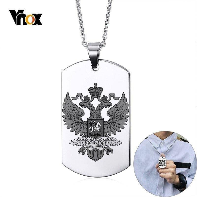 Vnox, surtido de símbolos rusos, iconos nacionales, etiqueta de perro de acero inoxidable 316L para hombres, personaliza los collares de águilas colgantes clásicos