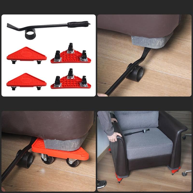 Подъемник для мебели, легкое перемещение, ползунок, 5 шт., мебельные ролики, набор инструментов для тяжелой мебели, транспортировочный подъе...