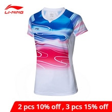 Li-ning femmes Badminton T-Shirt haut de compétition Polyester Spandex à sec respirant Li Ning doublure sport t-shirts AAYP054 WTS1504