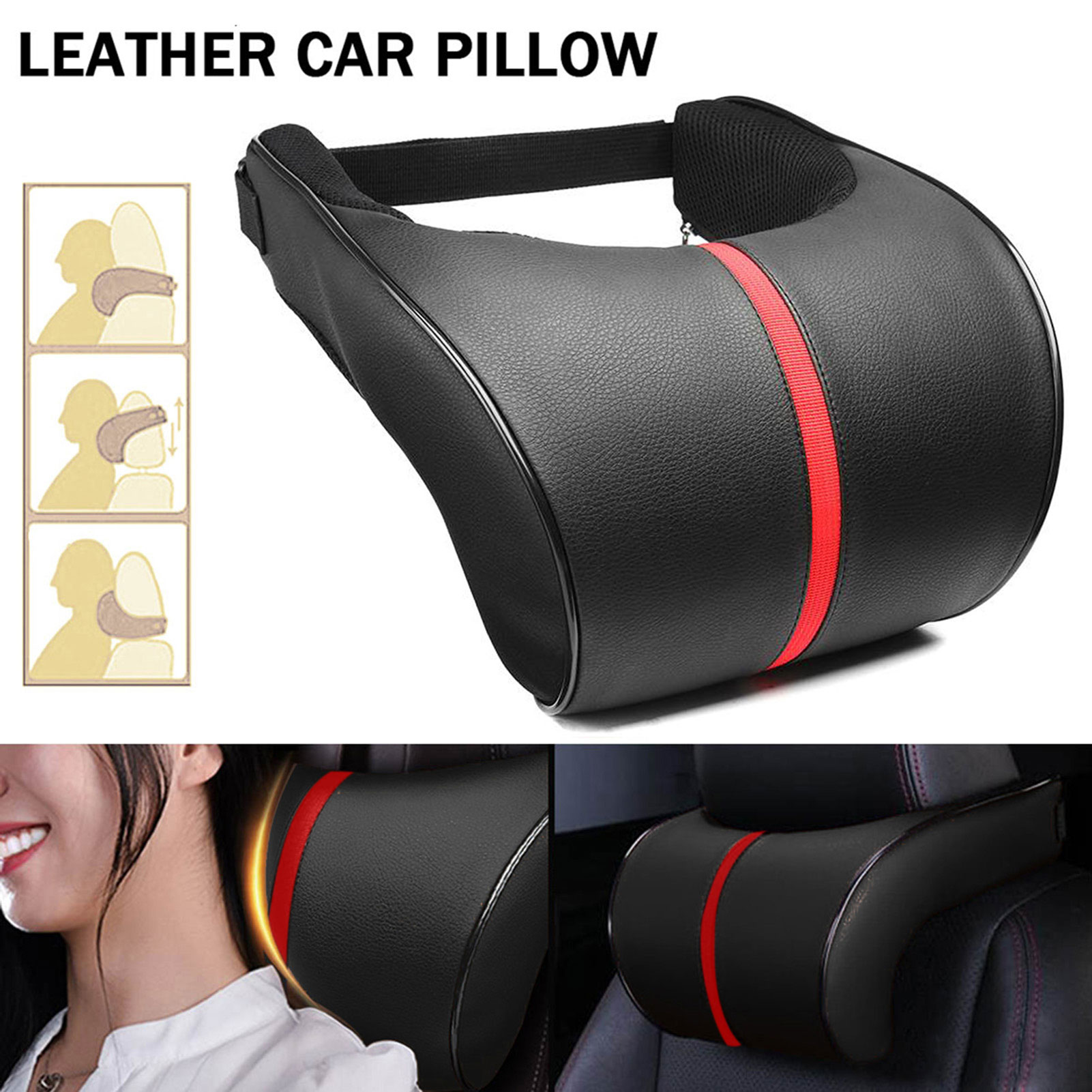 Soft Memory Foam Auto Car Seat Head Pillow Neck Protector Headrest Cushion Pad PU Adjustment Auto Neck Rest Lumbar Pillows