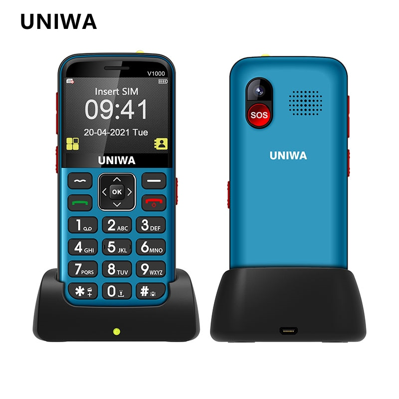 UNIWA V1000 2.31 inch 4G Feature Mobile Phone Big Button Phone FM 0.3MP Camera Russian Hebrew English Keyboard Cellphone