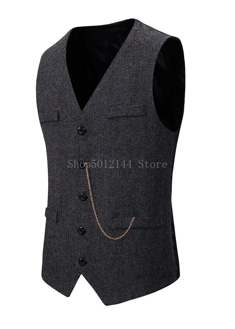 Mens Suit Vest Men Wool Herringbone Tweed Vest Waistcoat Casual Formal Business Groomman For Wedding Gilet Costume Homme XXL