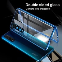aluminum metal phone case for oppo reno 4 3 pro a52 a92 a32 a53 double sided tempered glass camera full protection back cover