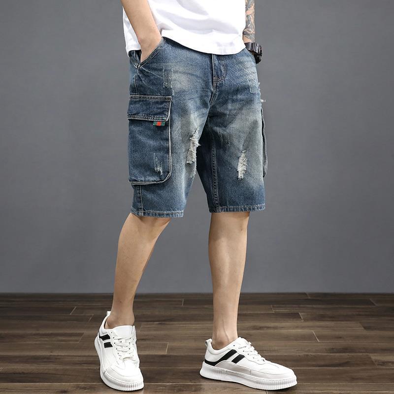 2021Summer thin  jeans for men popular logo loose multi-pocket overalls for men casual ripped shorts shorts for men summer