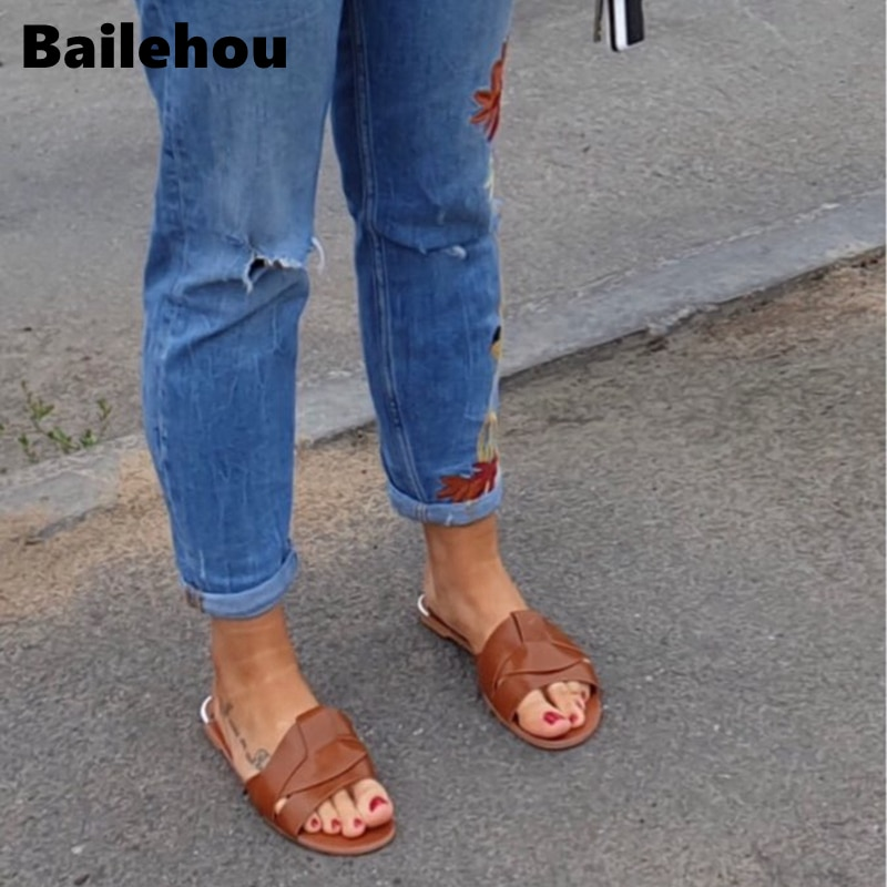 Bailehou New Fashion Brand Women Slipper Cross Outdoor Beach Flip Flops Open Toe Ladies Casual Flat Slides Shoes