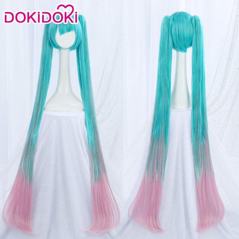 Peluca de Cosplay DokiDoki VOCALOID Hatsune Miku, peluca de mujer azul rosa, peluca de Cosplay para chica de alta temperatura de fibra VOCALOID Hatsune Miku
