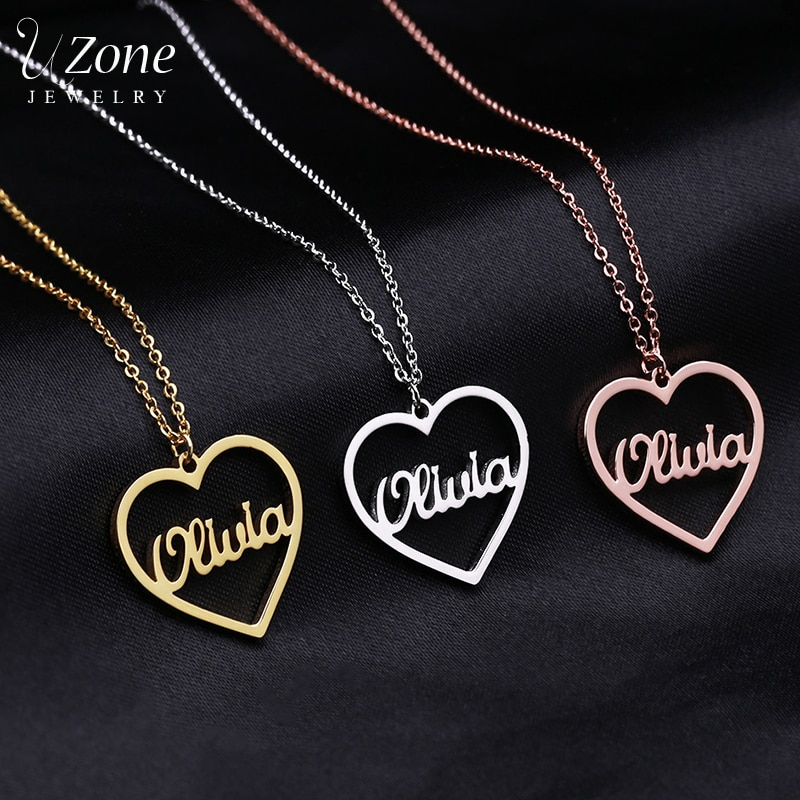 women costume two name necklace rose gold personalized infinity double names necklaces stone chain jewelery gift for lover mom UZone Custom Name Heart Infinity Necklace Personalized Stainless Steel Two Names Letter Necklaces For Women Girls Birthday Gift