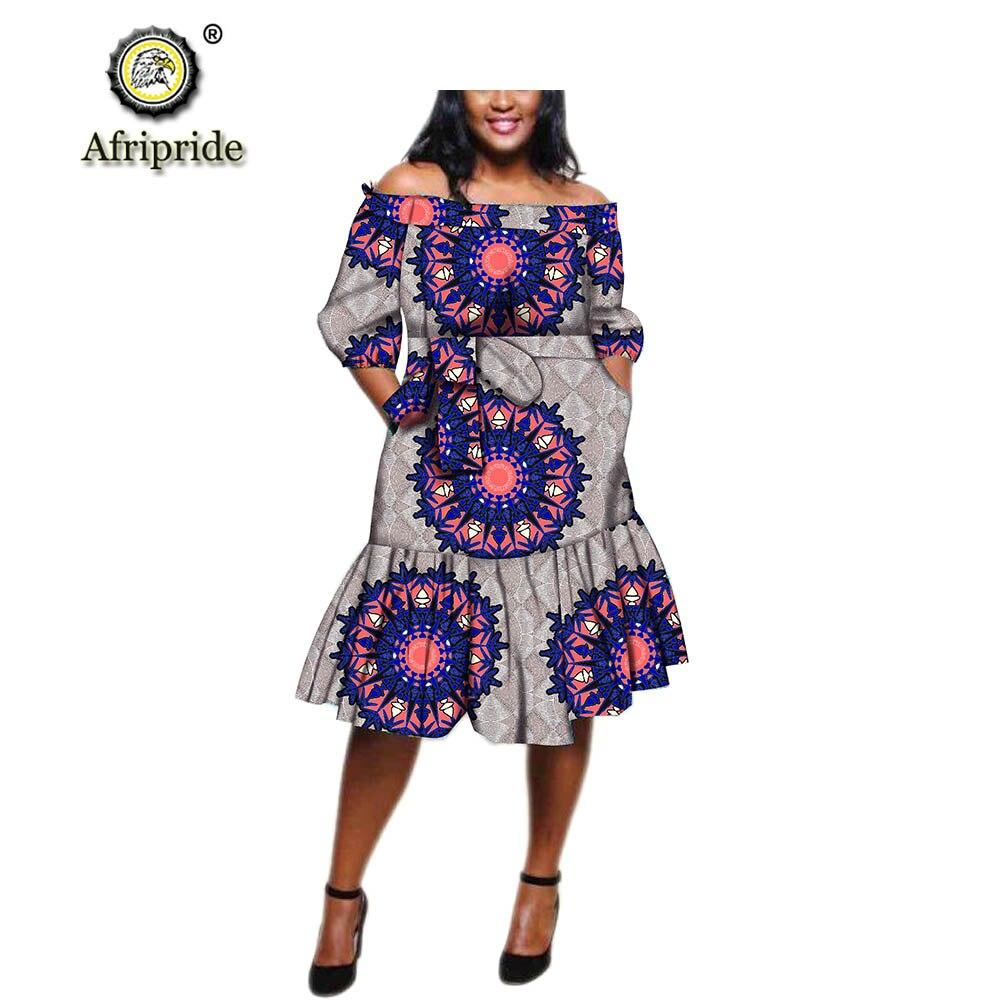 Africanos para Mulheres Fora do Ombro Vestidos Dashiki Ancara Impressão Meia Manga Joelho Comprimento Casual Tamanho Grande Afripride S1925101