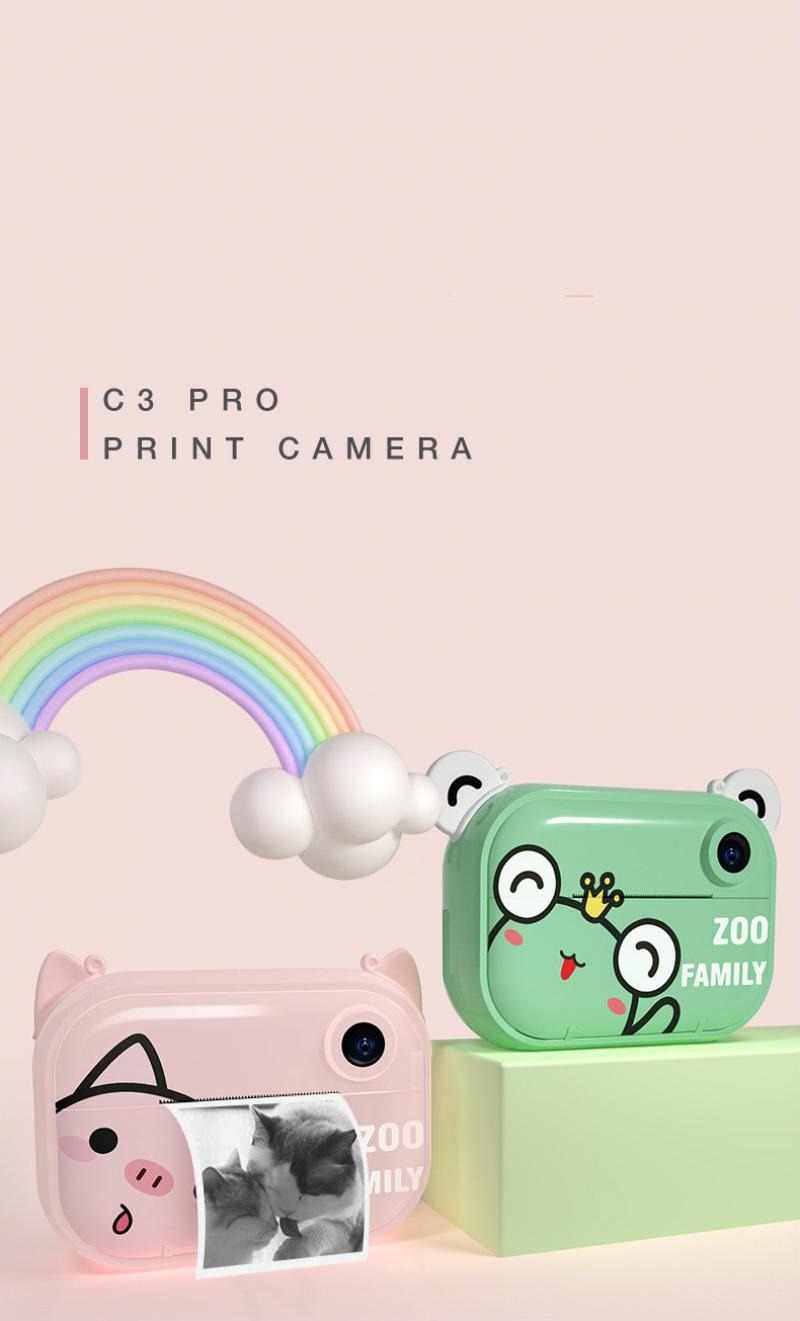 Polaroid Children's Camera Cartoon Printing Camera Baby Black and White Printing Camera Thermal Printer enlarge
