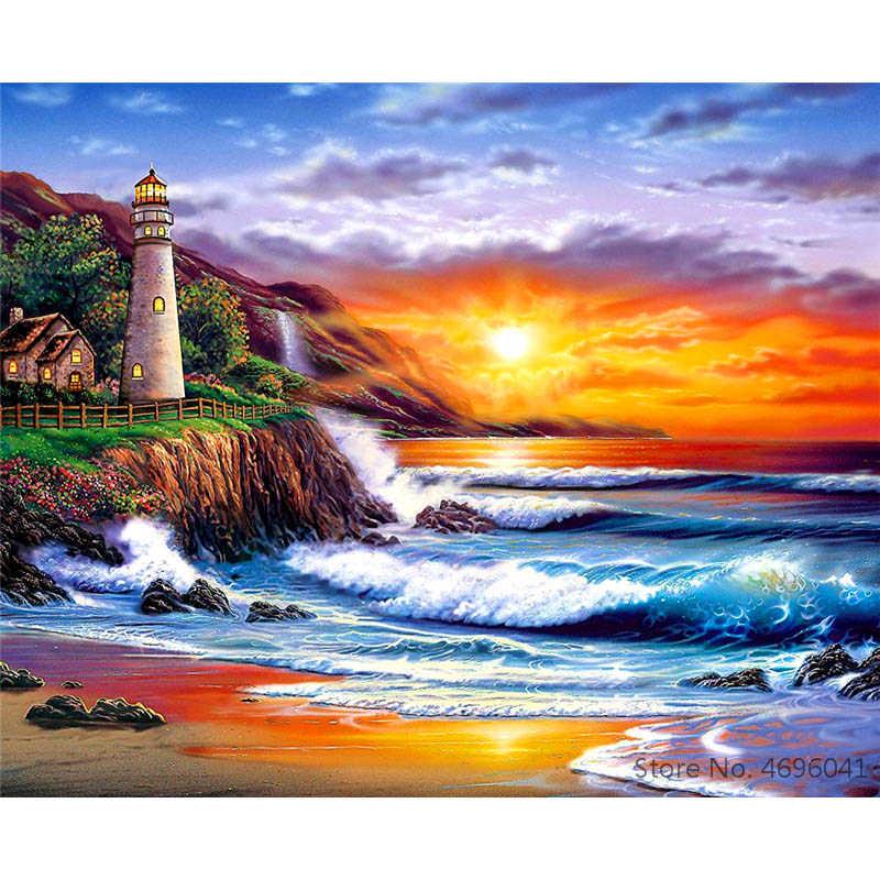 Cuadros pintados por números, Marcos para colorear por números, cuadros para decoración del hogar, paisaje, decoración de Villa de playa RSB8106