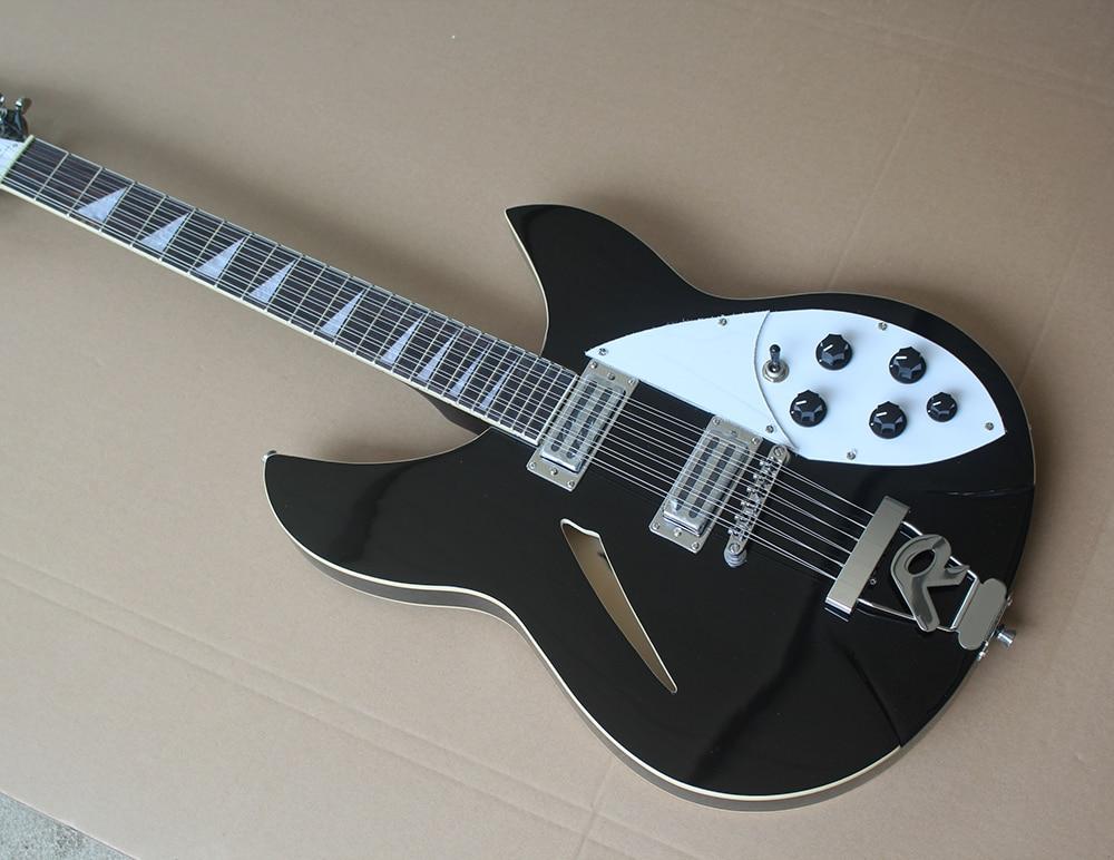 Guitarra eléctrica de 12 cuerdas de cuerpo negro Semi-hueco personalizada de fábrica...
