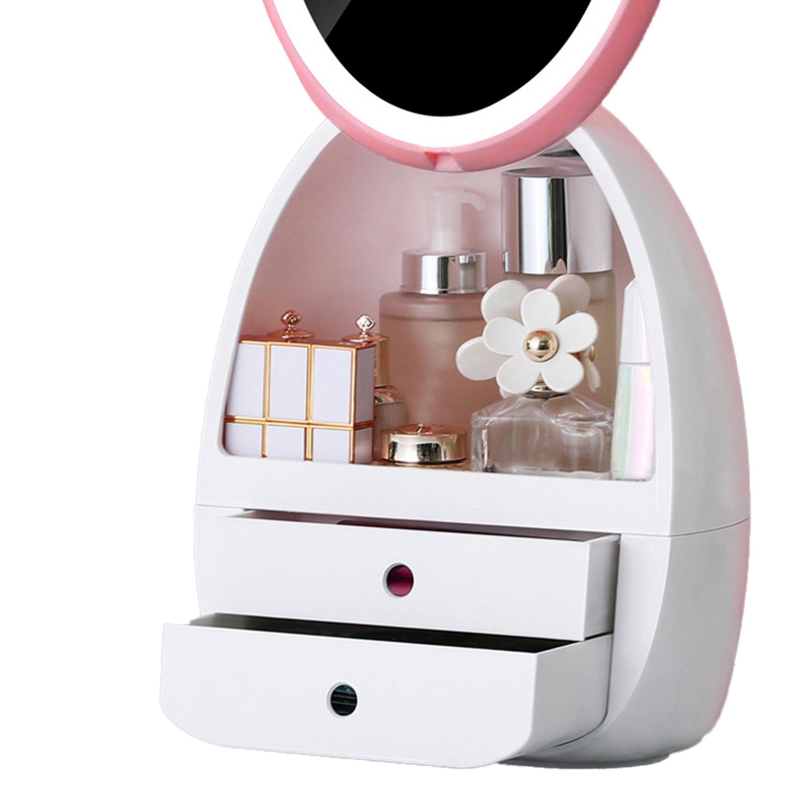 مستحضرات التجميل صندوق تخزين مقاوم للماء مع LED الحمام كبير ماكياج المنظم المنظمون أدوات العناية بالبشرة تخزين المجوهرات رسم