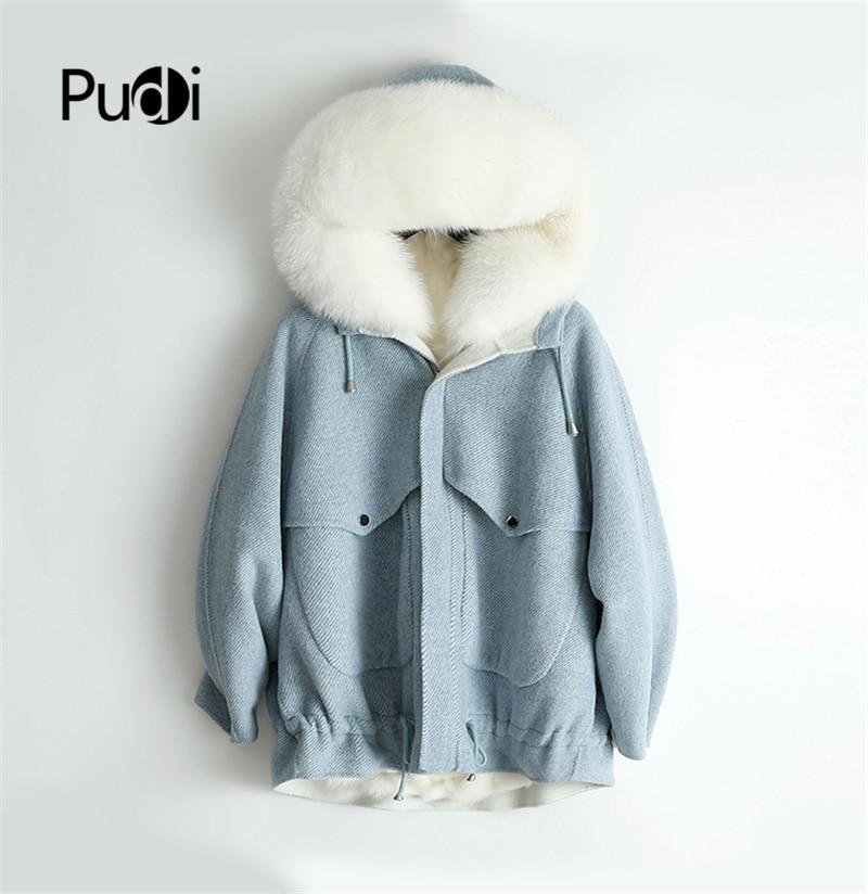PUDI ZY18954 abrigo de tela de lana de espiga real para mujer abrigo de piel de zorro forro de piel de zorro ocio Otoño/Invierno lana larga prendas de vestir