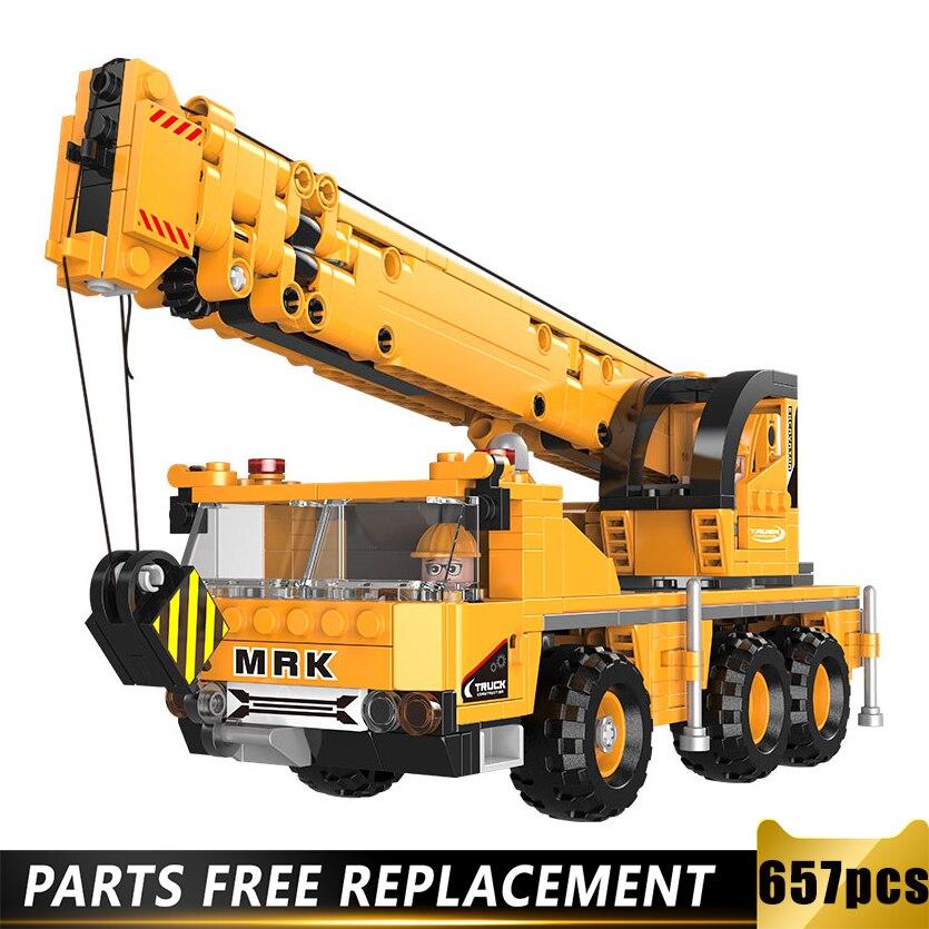 Childrens Excavator Building Blocks Toys 657pcs Engineering Vehicle Blocks Dump Crane Truck Bricks Toys Compatible with Leegoed