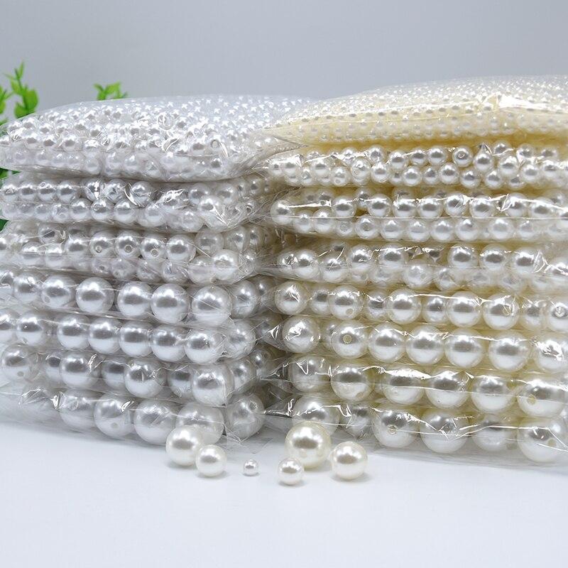 3 мм-20 мм прямые отверстия Круглый, белый, акриловый Перламутровые Бусины для шитья одежды головной убор обувь сумка ремесло из бисера DIY Изготовление ювелирных изделий
