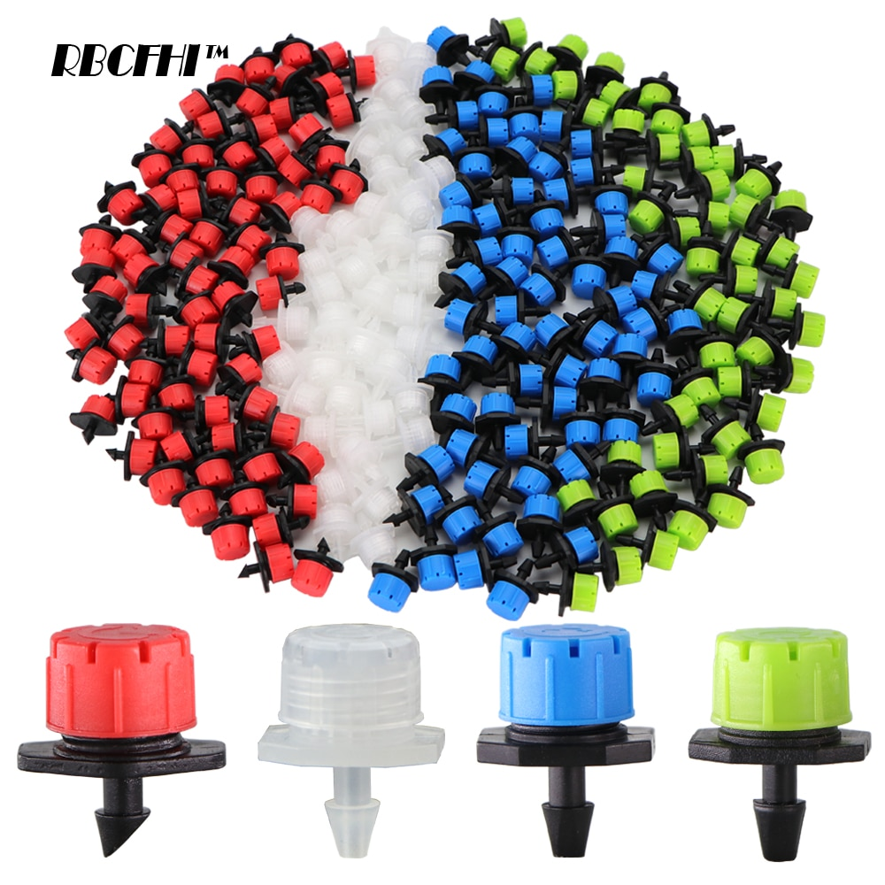 50-800PCS Garden Adjustable Nozzles Drip Irrigation Watering Sprinkler 1/4'' Anti-Clogging Dripper Emitter Flower Beds Vegetable