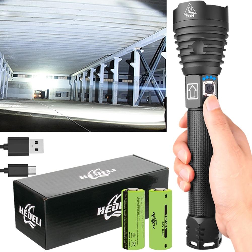 Linterna LED más potente XHP90 linterna impermeable Zoom linterna táctica XHP70 lámpara de Camping recargable USB 18650 o 26650 XHP50